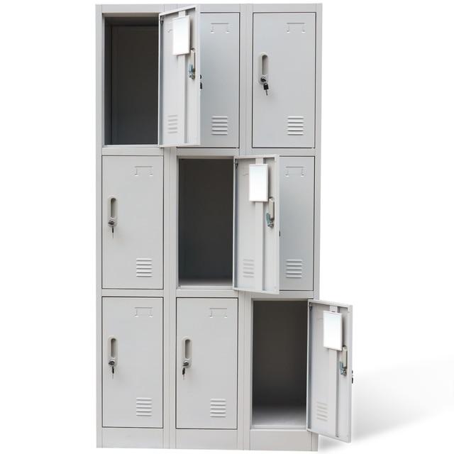 Ikayaa 9 Light Gray Metal Filing Cabinets Wardrobe With Locker Bathroom Cabinet Mirror Office Tools