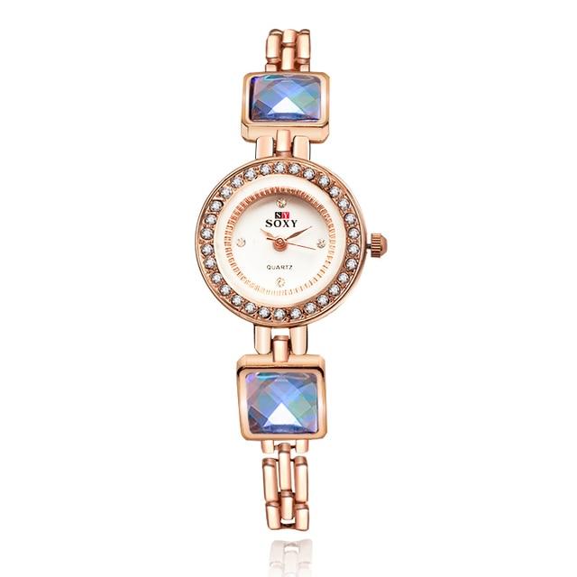 Women Crystal Bracelet Watch SOXY Luxury Brand Rose Gold Dress Quartz Watch Ladi