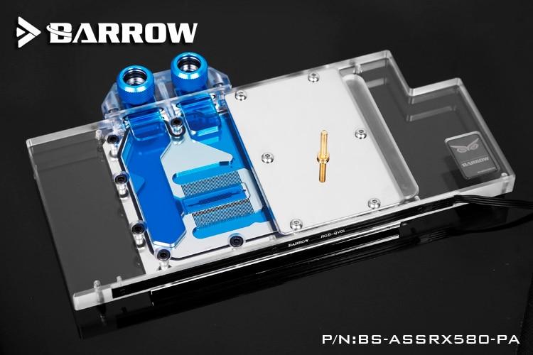 Купить с кэшбэком BARROW Graphics Card Block use for ASUS ROG-STRIX-RX580-8G-GAMING/RX480-O8G-GAMING GPU Full Cover Copper Radiator RGB to AURA