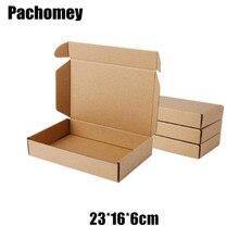 Retail 23*16*6cm 10pcs/lot Brown Paper Kraft Box Post Craft Pack Boxes Packaging Storage Kraft Paper Boxes Mailing Box PP774