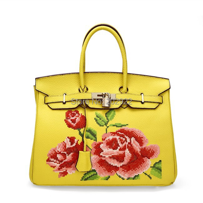 New Vintage Cross Stitch Designer Brand Floral Rose Real Genuine Leather  Handbags Handmade Flower Women Bags Tote Shoulder bags-in Top-Handle Bags  from ...