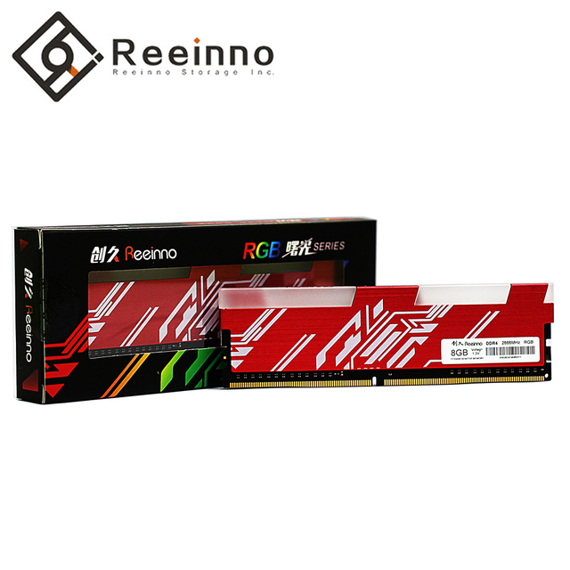 Reeinno RGB ram DDR4 8GB frequency 2666MHz 1.2V 288pin PC4 19200 CL=19 19 19 43 for PC game ram Lifetime Warranty Desktop memory