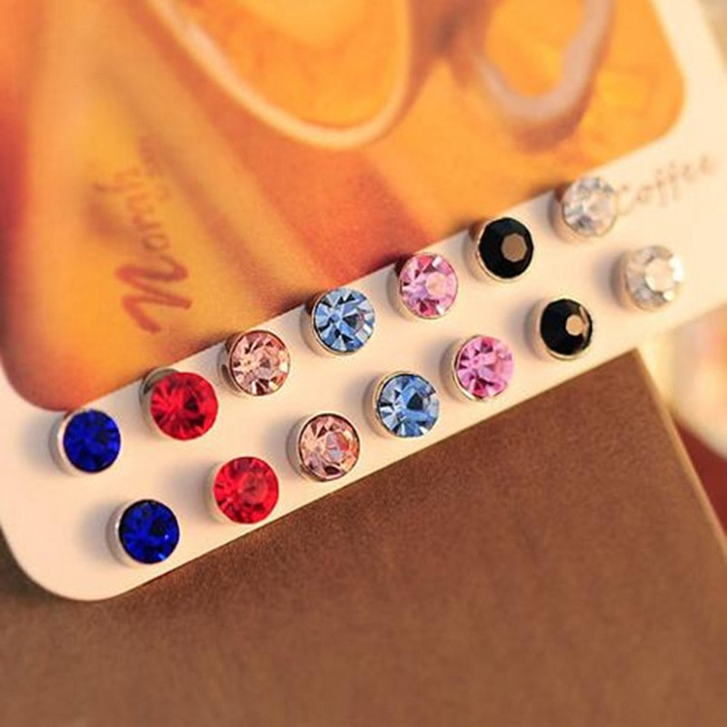 FUNIQUE Colorful Rhinestone Round Magnetic Stud Earrings for Girls ... 285ded54db2e