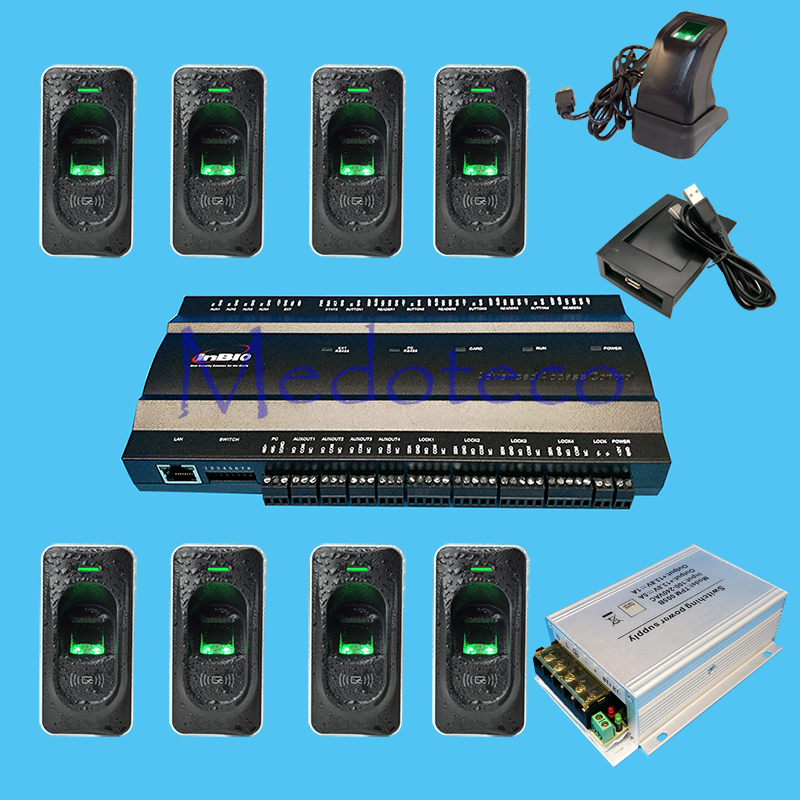 Inbio460 fingeprint & Rfid card access control panel Four Door Access Access System+FR1200 fingerprint Reader+12V5A Power Supply biometric fingerprint access controller tcp ip fingerprint door access control reader