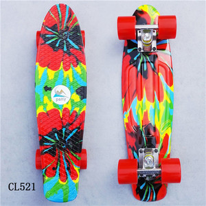 "Image 5 - Plastic Skateboard 22"" Shining color mixed Skate Cruiser Board Plastic Retro Style Banana Skateboard Light Mini Longboard"