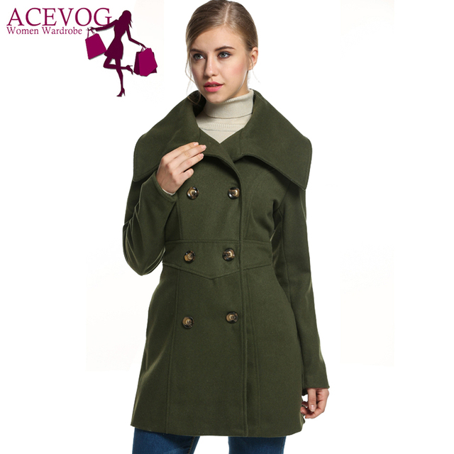 ACEVOG Women Autumn Winter Coat 2017 Fashion Slim Casual Envelope Collar Double Breasted Wool Blend trench Coat Black 5 colors