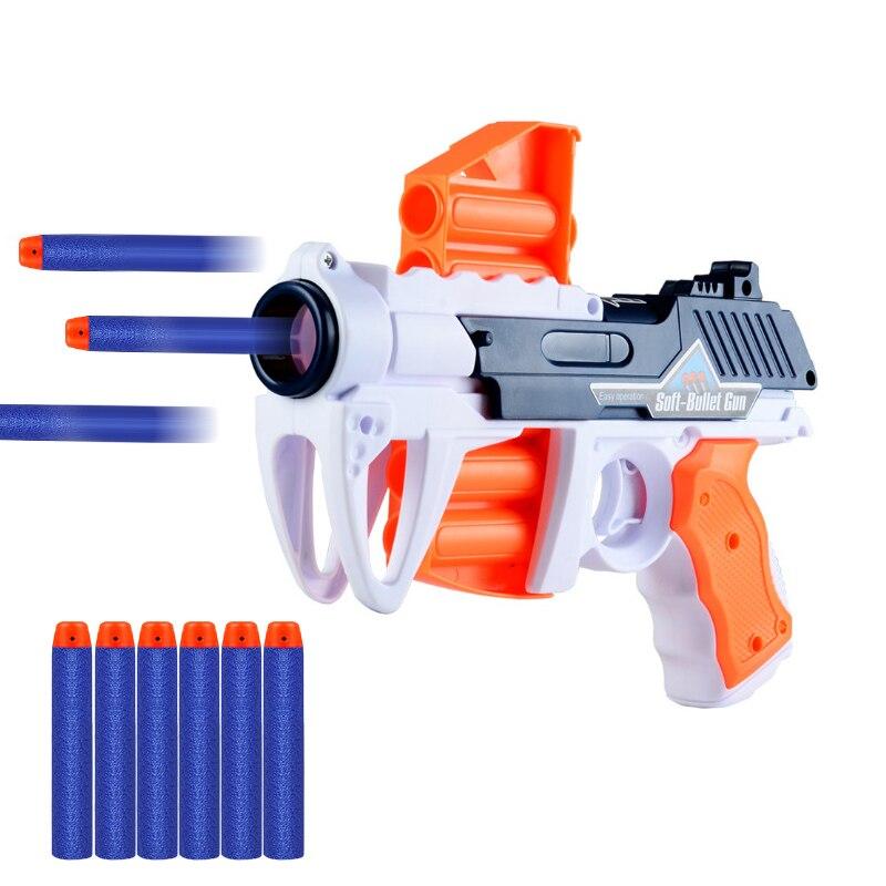 2019 Nova Arma de Brinquedo airsoft armas de ar comprimido Com 6PCS Conjunto de Plástico de Bala Mole Blaster Arma Balas 14*22cm pistolas de juguete