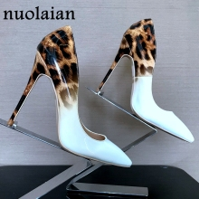 Brand Design 12CM Thin Heels Womens Shoes Pointed Toe Summer Leopard Pumps High Heel Shoes Woman High Heels Women Wedding shoes 2019 fashion design women high heels ivory pearl wedding party shoes 3 inches heel bride shoes pointed toe ceremony event pumps