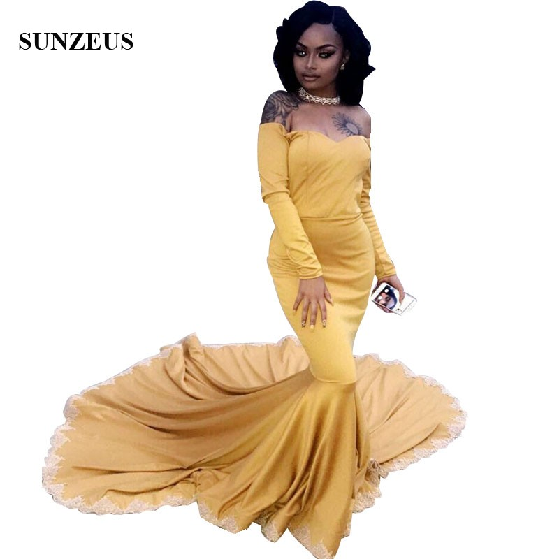 Mermaid Long Sleeves   Prom     Dresses   2019 Sweetheart Off Shoulder Gold Party Gowns For African Black Girls Lace Edge Vestidos Gala