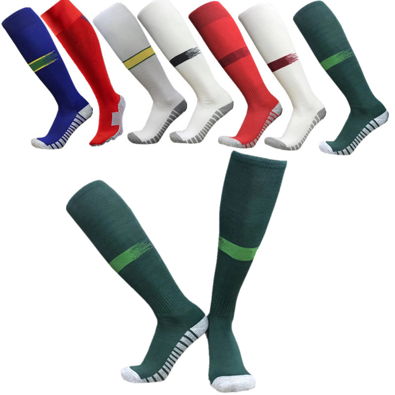 2018 Barreled Towel Football Socks Bottom Stripes Knee Stockings Boy Child Men Kids Football Sock Absorbent Non-slip Movement