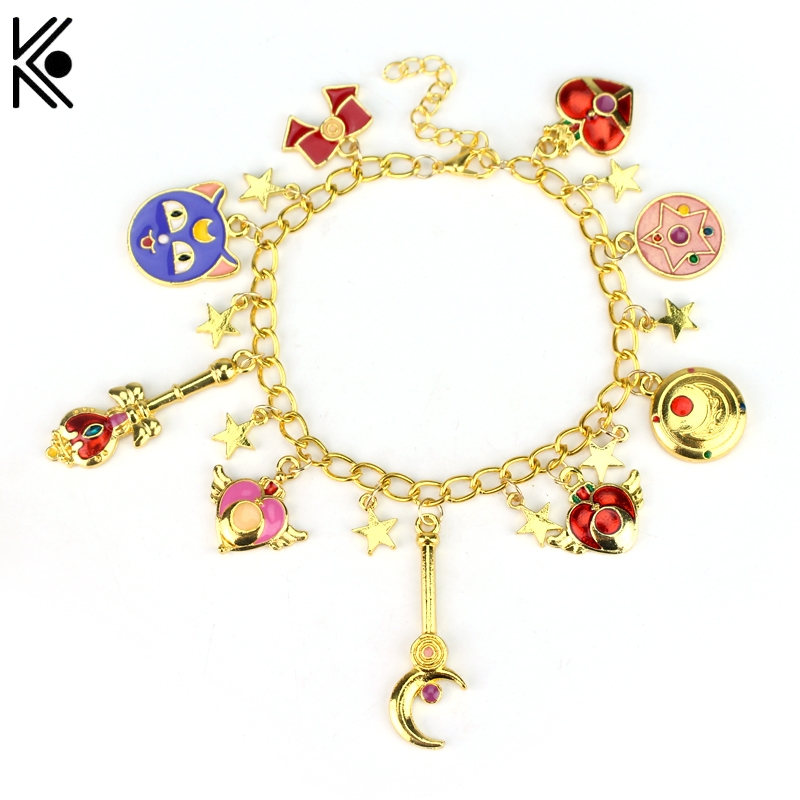 Freeshipping Sailor Moon Charm Bracelet Gold Color Chain Bracelet & Bangles Tsukino cat For Women Brand Fashion Jewelry