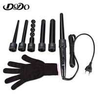 DODO New 6 In 1 Ceramic Pro Curling Iron Wand Hair Curler Set Pro Interchangeable Barrel