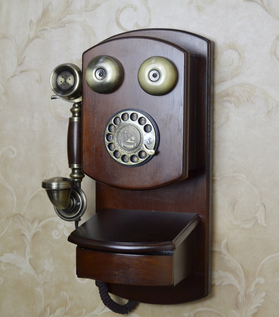 Moda telefone do vintage telefone estilo americano pendurado telefone antigo placa giratória de metal