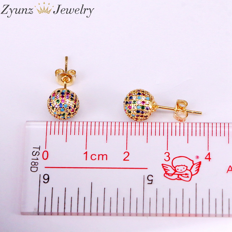 Image 5 - 5 Pairs 8mm/10mm Golden Color Copper Multicolor Cubic Zirconia  Round Disco CZ Ball Stud Earrings Womens Party Fashion JewelryStud  Earrings