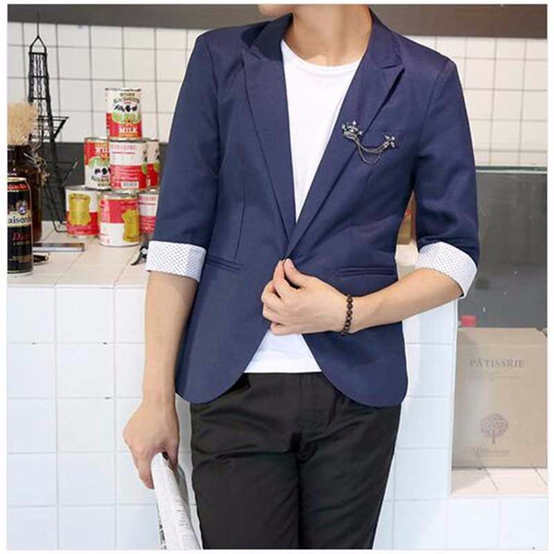 41b89490c Mens Korean slim fit fashion Half blazer Leisure Suit Jacket black blue  plus size M-3XL Male blazers Mens coat Wedding dress