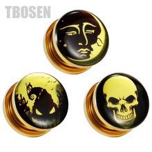 TBOSEN 2PCS Custom Ear Gauges Piercing Tunnels Plugs Stretcher Fashion Expanders Steel Body Jewelry Screw Earrings Gift 2G 0G