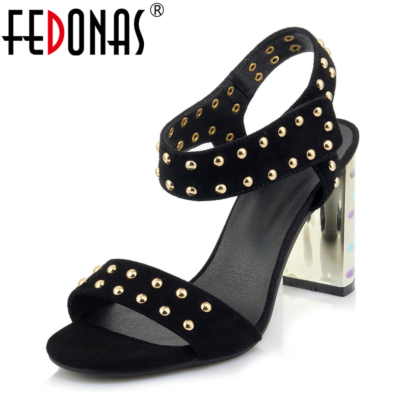 FEDONAS 2018 Summer Women Genuine Leather Punk Rivets Sandals Open Toe Thick High Heels Shoes Woman Dress Party Shoes Sandals fedonas women sandals soft genuine leather summer shoes woman platforms wedges heels comfort casual sandals female shoes