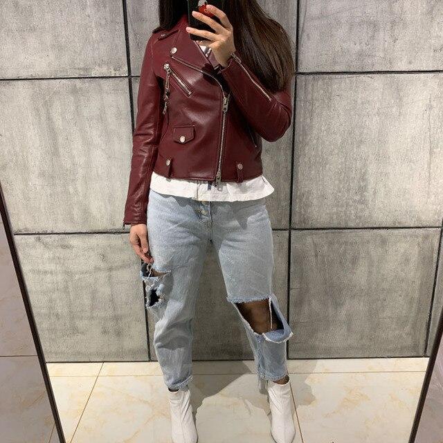 ladies real leather jacket women genuine leather jacket