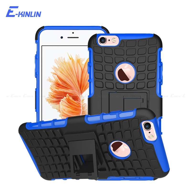 2 in 1 Kickstand Armor Back Case For iPhone X 8 7 6 6S Plus SE 5 5S 10 Ten Shockproof Hybrid Heavy Duty Hard PC Soft TPU Cover