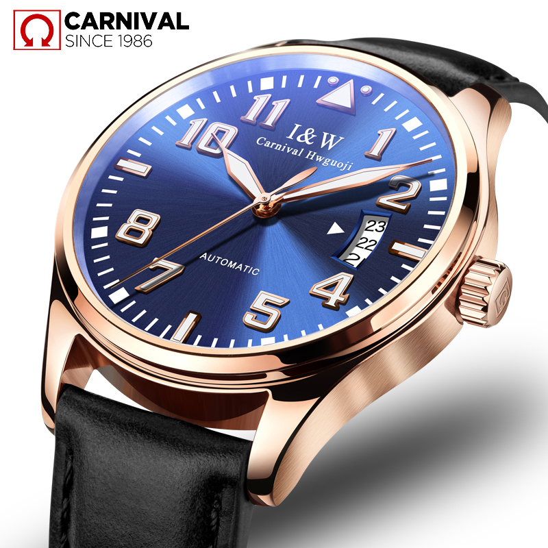 CARNIVAL Luxury Fashion Automatic Mechanical Men Watch Business Casual Leather Waterproof Luminous relogio TopBrand Montre Homme