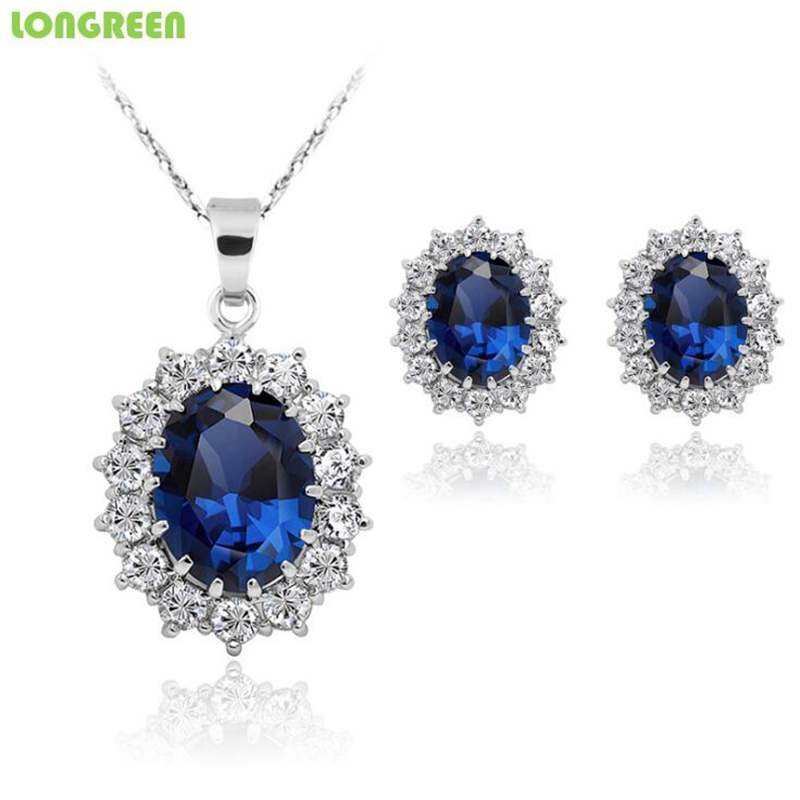 Zircon Women Crystal Jewelry Heart Pendant Water Drop Pentant Necklace Stud Earrings Wedding Jewelry Sets For Women