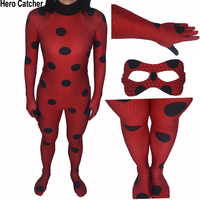 High Quality New Kids Adult Miraculous Ladybug Cosplay Costume With Mask Ladybug Romper Costume Cat Suit