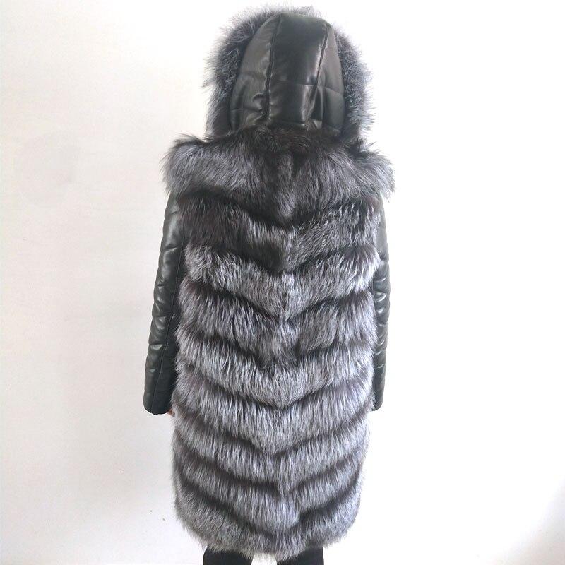 Réel Détachable Avec Long Fourrure Manteau Dames Naturel Cuir Capuche En Élégant Manches Chaud Moutons Silver Et Hiver Fox wgx0xqpa