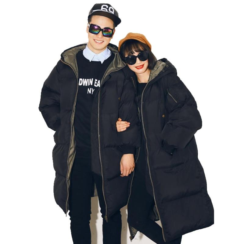 2017 new winter leisure loose size coat female long hooded cotton padded jacket women warm overcoat free shipping