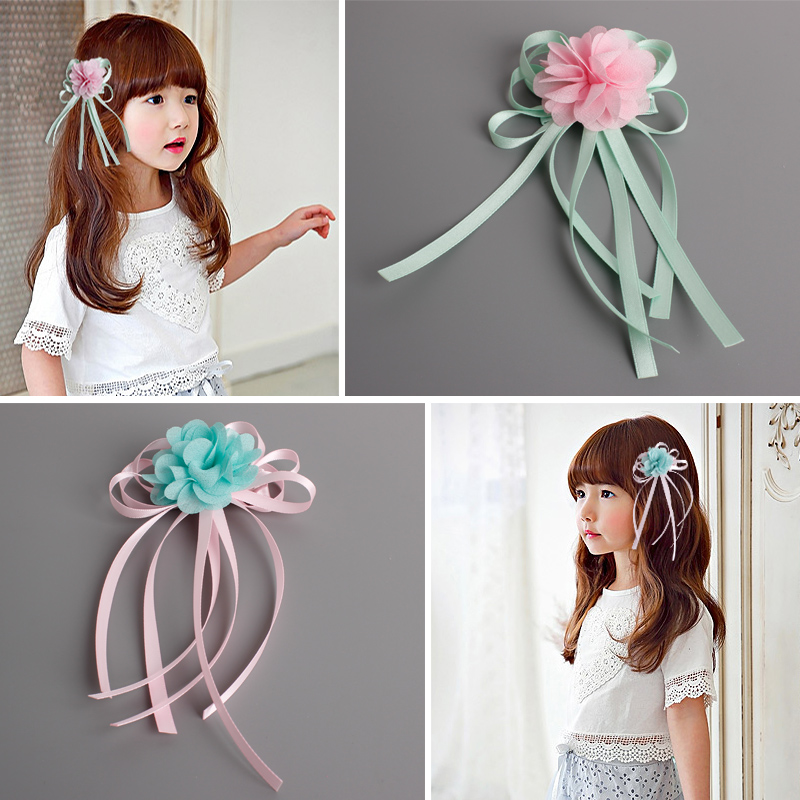 Cute Fashion Children's Hair Accessories Ribbon Flowers Hairpins Girls Headwear Baby Hair Clips Princess Barrette Kids Headdress baby cute style children accessories hairpins rabbit fur ear kids girls barrette lovely hair clip