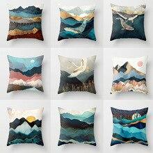 pillow covers decorative Creative office peach skin case cushion cover mountain sun whale  cushions home decor
