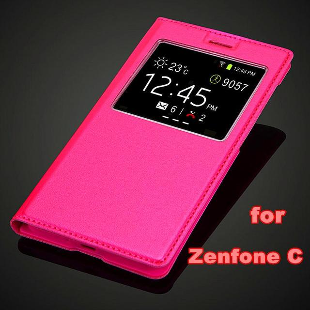 Fashion Battery Housing cover for Asus Zenfone C ZenfoneC ZC451CG Luxury view window Flip pu leather case