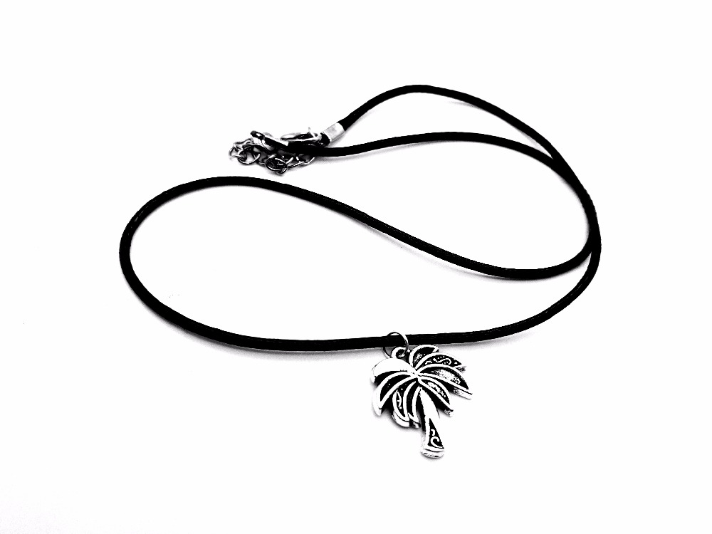 10PCS Tropical Coconut Tree Necklace Pendant Palm Tree Leaf Leather Rope Necklaces Tattoo Choker Island Life Christmas Gifts