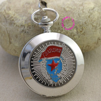 Wholesale Russian Vingtage Silver Soviet BOLSHEVIK Mechanical FOB Pocket Watch Men Pendant Watches Ancient Retro Red