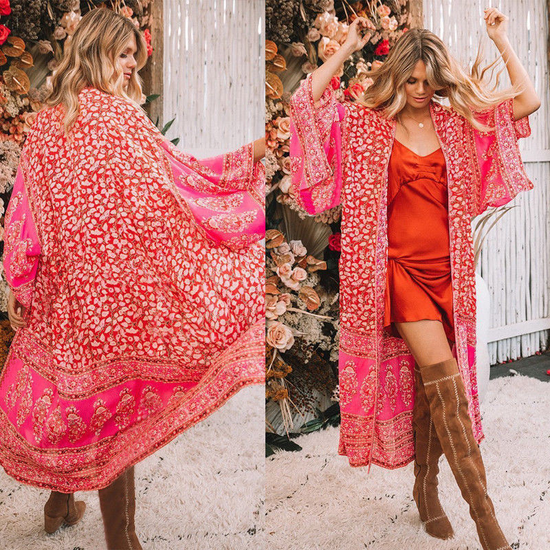 Red Floral Print Fashion Casual Loose Women Ladies Summer Boho Floral Chiffon Cover Up Shawl Kimono Outwear Clothes