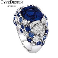 Роскошные Ретро королевские кольца для вечерние сапфировые вставки, хрустальные стразы, темно-синие драгоценные камни женские/мужские