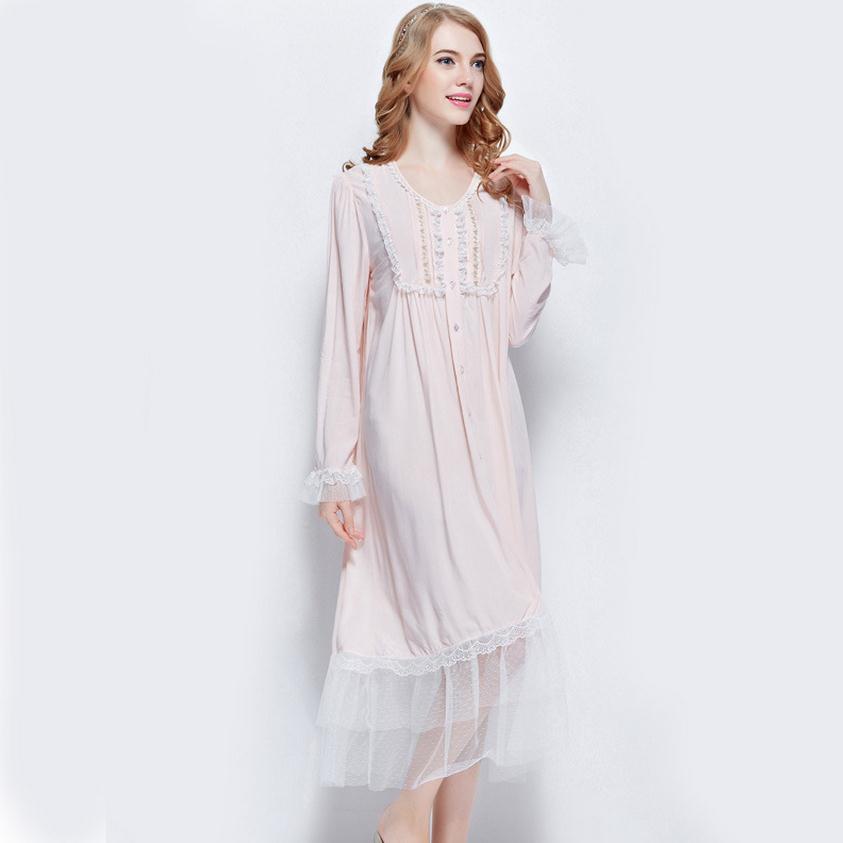 Sleepwear 2017 new fashion Womens spring Elegant Cotton Silk Pink Lovely Lace Hem Yarn Skirt Long Sleeve Sleeping dress wj308