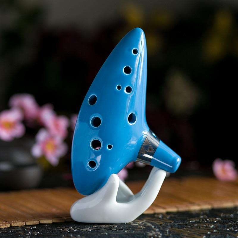 Alto 12 Hole C Tone Ocarina Ceramic Flute Sky Blue Instrument with Neck Strap Cord and Music Book