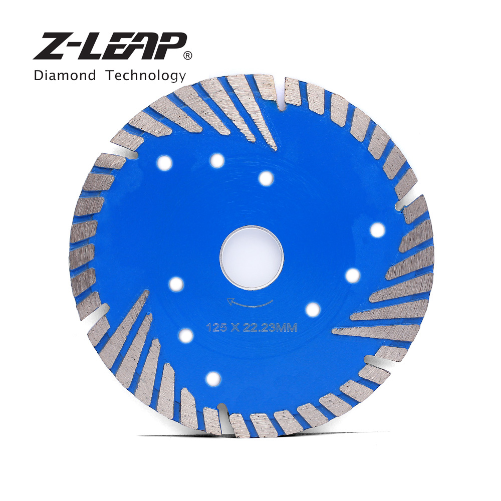 Z-LEAP 5inch 125mm Diamond Turbo Saw Blade Slant Protection Teeth Diamond Disc Cutting Wheel For Stone Concrete Tile Drywall 12 72 teeth 300mm carbide tipped saw blade with silencer holes for cutting melamine faced chipboard free shipping g teeth
