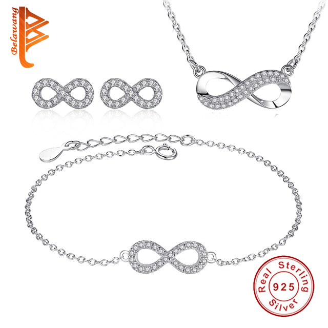 BELAWANG Infinity Forever Love Cubic Zirconia Anniversary Promise Earrings Bracelet and Necklace 925 Sterling Silver Jewelry Set