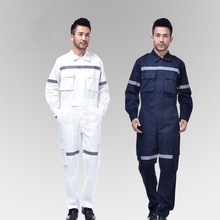 Safety Clothing For Men Cotton Long Sleeve Coveralls Reflective Protective Work Clothes Auto Repair Engineer Uniform Plus Size(China)