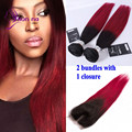 New Arrival Straight hair bundles 100g Brazilian virgin har 2 bundles with Closure Ombre color T1b/burgundy human hair bundles