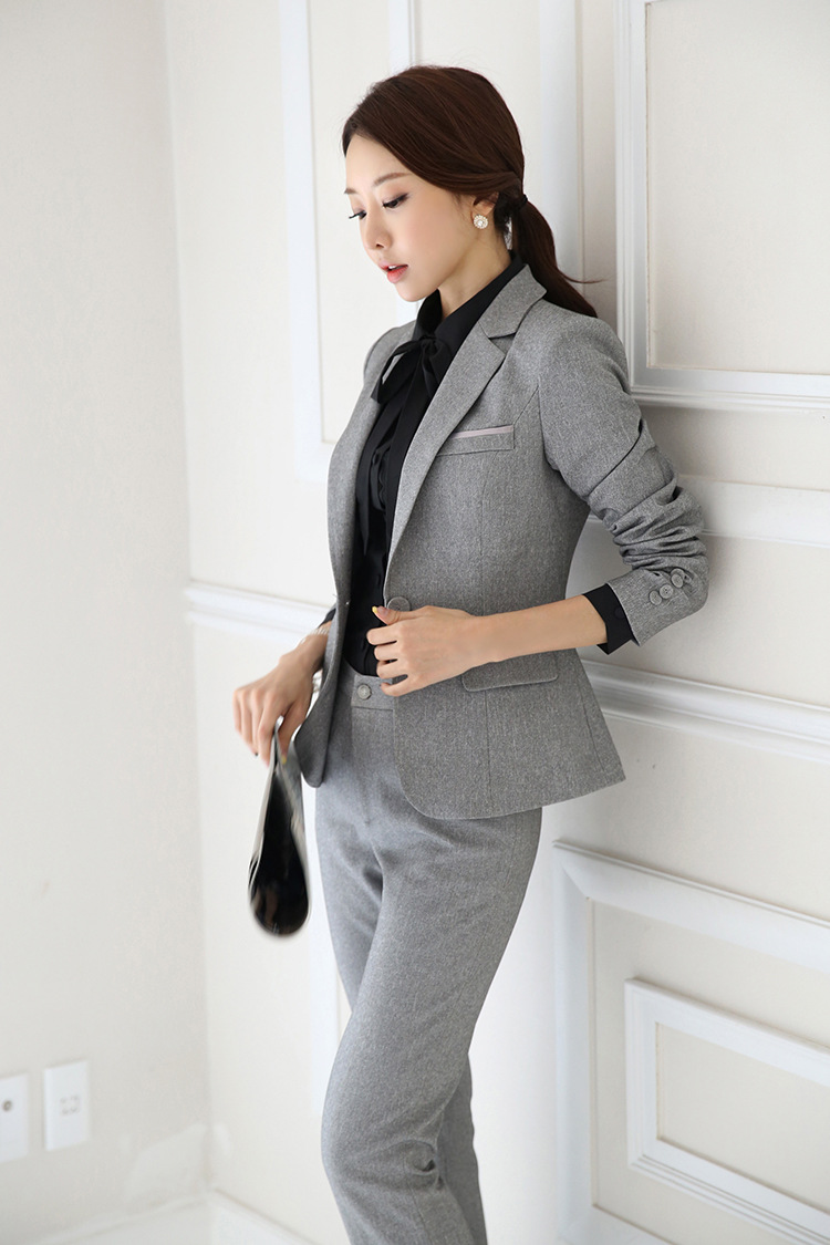 IZICFLY Spring Black Blazer Feminino Female Uniform Business Suits with Trouser Elegant Slim Office Suits for Women Clothing 4XL 66