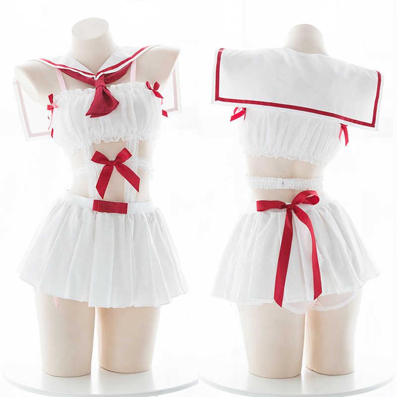 Каваи Лолита девушка белый JK Униформа ночное белье нижнее белье японский сладкий костюм моряка женщина частный уникальный фото Комплект