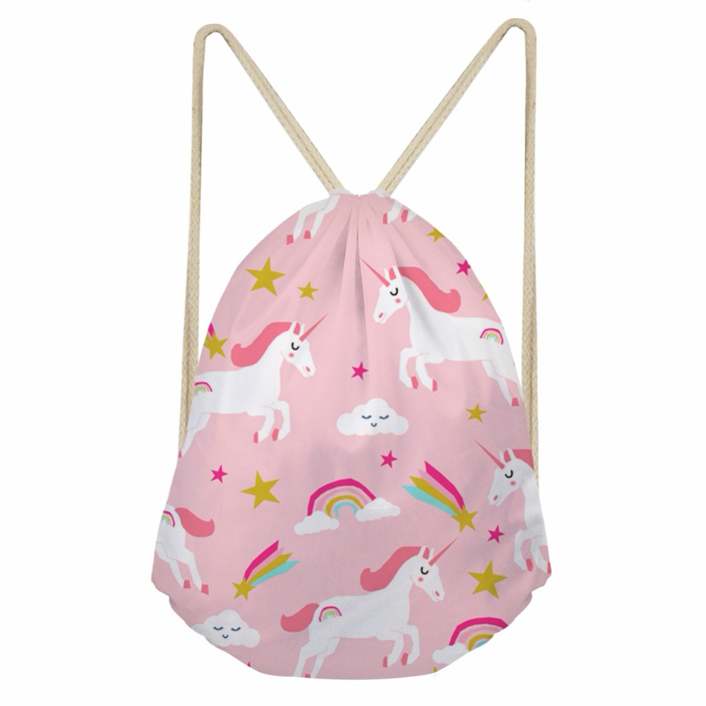 ThiKin Cute Cartoon Rainbow Cloud Horse Printed Woman Drawstring Bags Pink Travel Backpacks For Teenage Girls Storage Bag