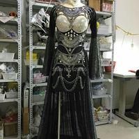 2016 Новинка Черный Блестки блестящее платье костюмы с длинным рукавом платья со стразами концерт вечерние танцевальная одежда для ночного к