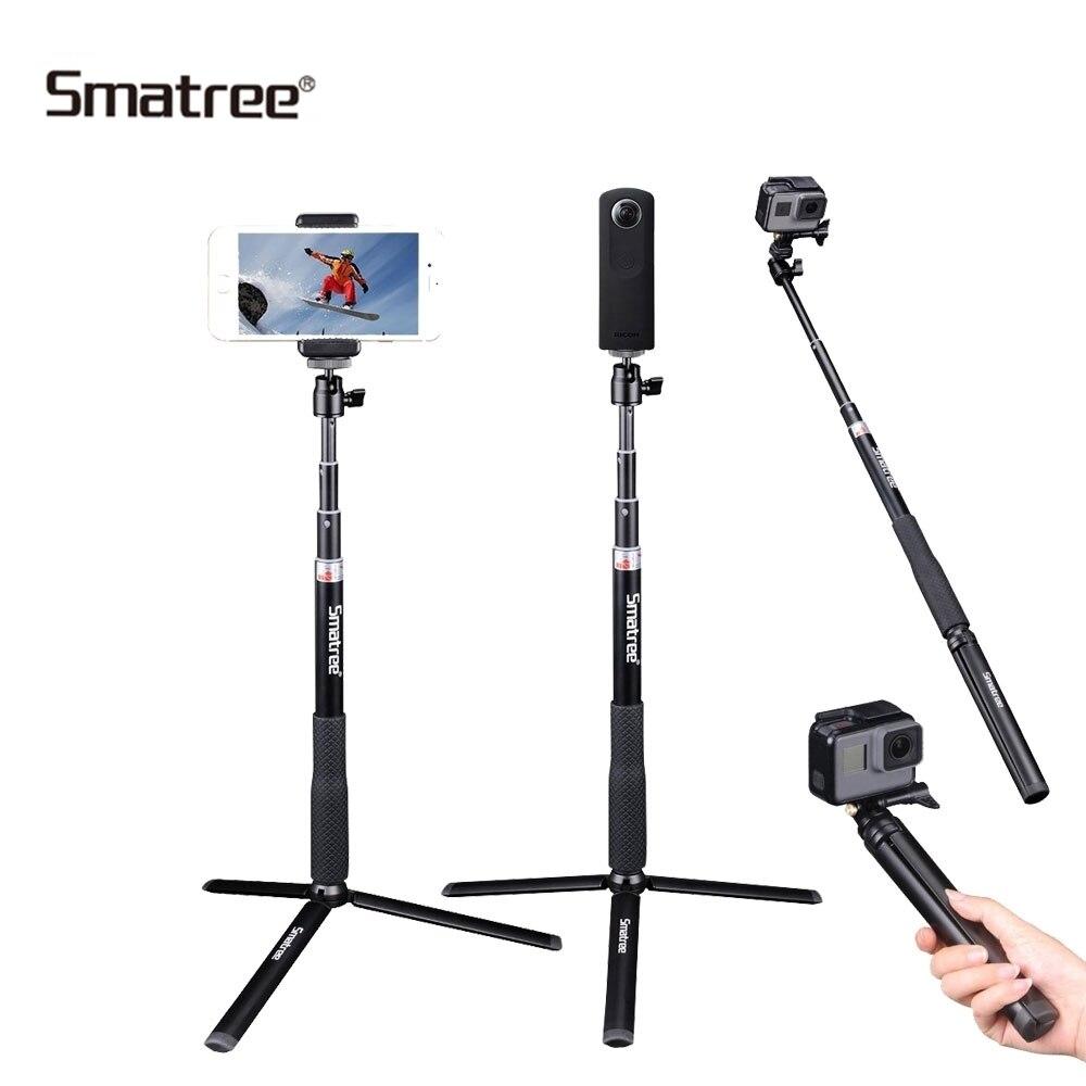 Smatree télescopique en aluminium Selfie bâton pour GoPro Hero SJCAM, DJI OSmo caméras d'action avec trépied support Q3S