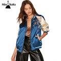 MissKoKo Vestuário Azul Jaqueta Bomber Mulheres Floral Bordado Ocasional Magro Feminino Casaco Cor Blcok Athleisure Streetwear Jaqueta