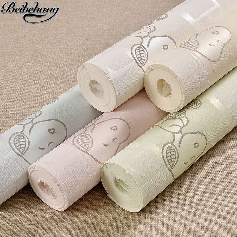beibehang Happy children 's room 3D stereo cartoon puppy wallpaper boy girl children' s clothing shop non - woven wallpaper beibehang children room non woven wallpaper wallpaper blue stripes car environmental health boy girl study bedroom wallpaper