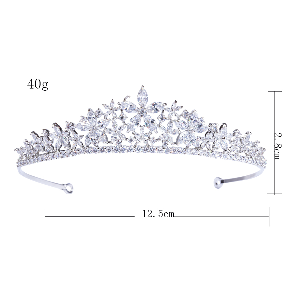 ASNORA Women's Party Queen Hair Crown Full Cubic Zirconia Flower Bridal Wedding Tiara Jewelry Accessories New Headband 2017 new woman cute berry flower headband fascinator bride flower hair crown wreath girls wedding party beach hair accessories
