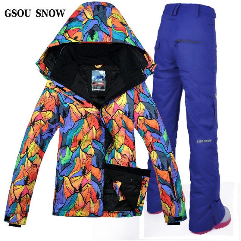 021bfaaf Gsou снег Лыжный спорт куртка Брюки для девочек ветрозащитный  Водонепроницаемый уличная спортивная одежда отдых езда утолщаются  Термальность супер теплый ...